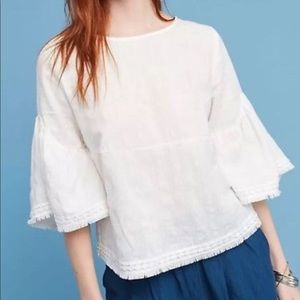 Anthropologie flared sleeve top size M